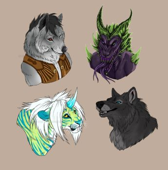 Colored headshot commissions 3 by NadiavanderDonk