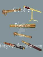 Antique Telescope  Tube Pack 2 by FairieGoodMother