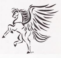 Winged horse tattoo by DawnLeopardess