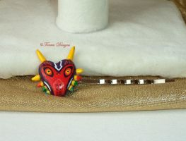 Majoras Mask (L) Hair Pin OOAK Hand Sculpt Painted by TorresDesigns