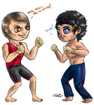Chibi Hannigraham 3 - Teaching to fight by FuriarossaAndMimma