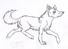 Trotting Wolf Lineart by thefireflii