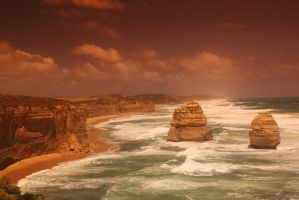 Sunset at two rocks by azurevista