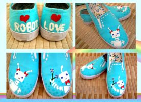 Robot Love Sneakers by SupremeBeingDesigns