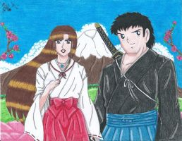 The Samurai and the Priestess in Japan by Lily-de-Wakabayashi