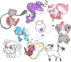 Pokemon Hybrid Adoptables 6 CLOSED by PinkMelodii