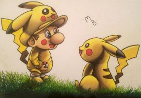 Baby Mario and Pikachu as friends.