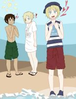 Armin, Eren, and Annie at the Beach! @U@ by Just-Me143