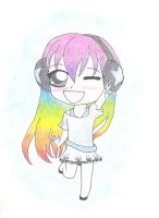 Rainbow-haired chibi by Glooriah