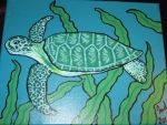 Small Sea Turtle Painting by JadasArtVision