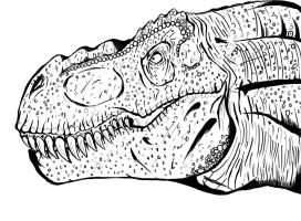 T Rex Line Art by xenomorph01