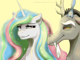 Celestia and Discord by BlueHeart417