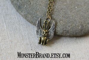 Winged Bunny Necklace by MonsterBrandCrafts