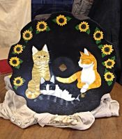 Cats and Sunflowers by Khimera