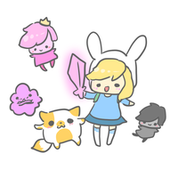fionna and cake and other people by pinkbunnii