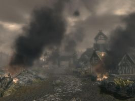 Whiterun on fire by SereglothIV