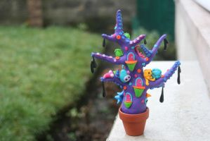 Polymer Clay Salty the Pot Head Monster back view by strawberryanarchy
