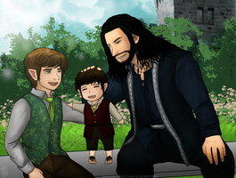 Thilbo and little baby Frodo by Kiri-Yami