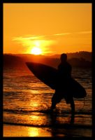 Sunset surfer silhouette 1 by wildplaces