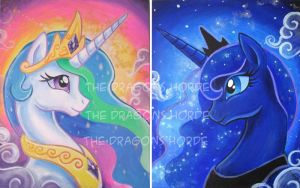 Princess Celestia and Luna by DragonCid