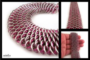 Pink Dragonscale Bracelet by coldfirecustoms
