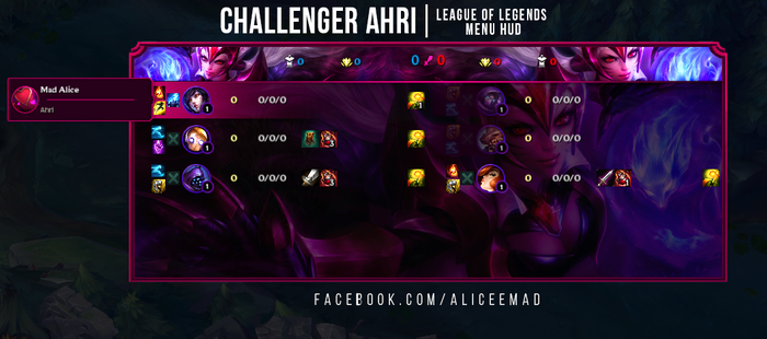 League of Legends Menu HUD - Challenger Ahri by AliceeMad