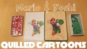 Paper Quilled Mario and Yoshi by quilledcartoons