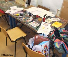 My chaotic workspot by marjol3in