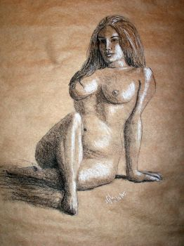 Seated Nude Sketch byjogle6490 by With-Pleasure
