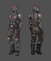 Terran Republic female heavy assault by Hebime