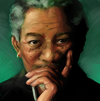 Morgan Freeman by kathrynlayno