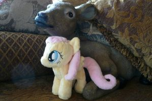 Filly Fluttershy and the Deer by navkaze
