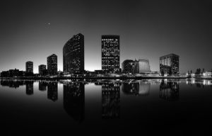 Oakland Skyline-BW by geolio