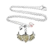Heart Wing Gold Glitter Charm Crystal Necklace by crystaland