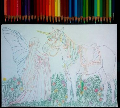 Fairy and unicorn (wip) by TaynaZahlouth