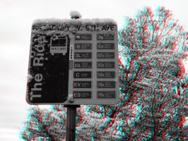 Frosted Bus Flag - Anaglyph by Temphis