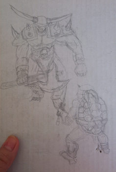 01 TMNT vs Orc - Pencil by nekrosith
