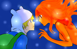 Finn X Flame Princess   Lineart by mewmew284