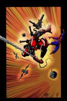 Deadpool Vs Spider-Man Coloured by richyunspoken