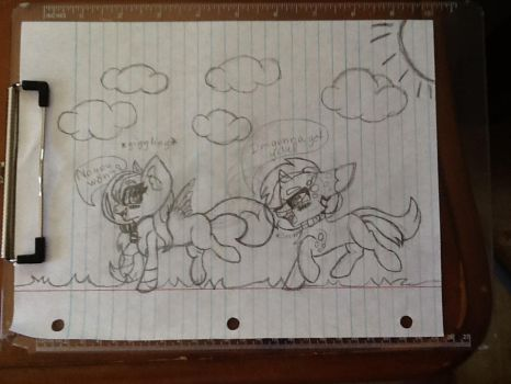 Filly Splatters and Colt Milo Playing Tag by TheMysteriousSong