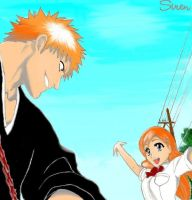:Ichigo and Orihime: by Club-Bleach