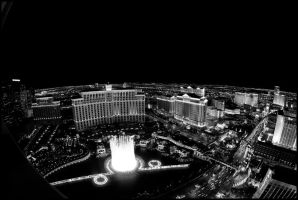 Fountains of Bellagio III B+W by MarkHumphreys