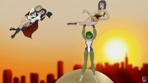 Wonder Woman x SheHulk x Power Girl x Zatanna by jackcrowder