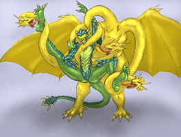Dragon Lotus vs King Ghidorah by QuintonQuill