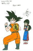 Goku Protecting ChiChi Colored by hikari-chan1