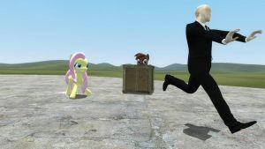 fluttershy uses the stare on Slenderman by thekingofvideogame10