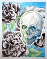 UnColored Skull and Flowers by ShaylynnAnn