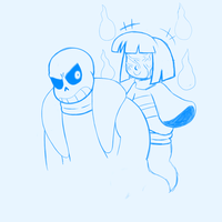 Fantom Frisk and Sans sketch by ReneesDetermination