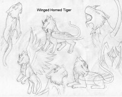 Tiger with horns and wings by RiaStrifeChan