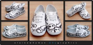 black n white custom shoes by elainewhy